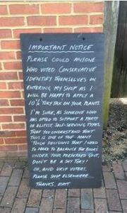 This sign outside a Sussex business has been doing the rounds on Facebook.